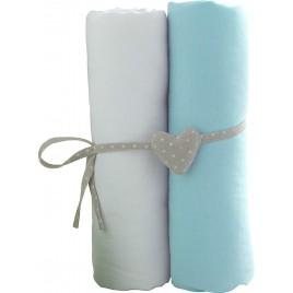 Lot de 2 draps housse 120X60 cm blanc-turquoise