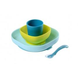 Set vaisselle silicone bleu