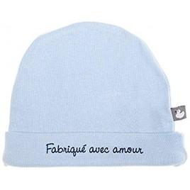 Bonnet doublé pur coton `Fabriqué avec amour` bleu