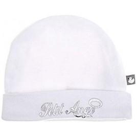 Bonnet doublé pur coton `Petit Ange` blanc/argent