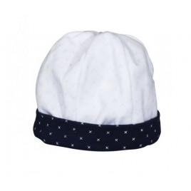 Bonnet blanc-bleu Hello
