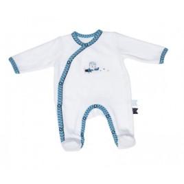 Pyjama 3 mois blanc-turquoise Lazare