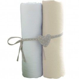 Lot de 2 draps housse 140X70 cm blanc-écru