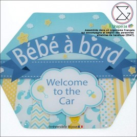 "Auto collant ""Bébé à bord"" welcome"""