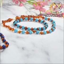 Box ambre/lapis lazuli collier bébé et bracelet maman