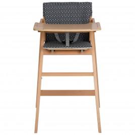 Chaise haute Nordik pliable naturel + coussin geometric