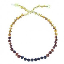 "Collier ambre ""bille"" rainbow - clips"""