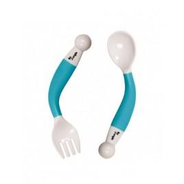 Cuillère et fourchette orientables Turquoise