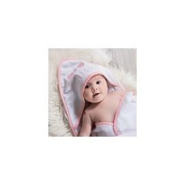 Coffret sortie de bain + gant blanc brodé rose little girl