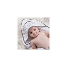 Coffret sortie de bain + gant blanc brodé gris little boy