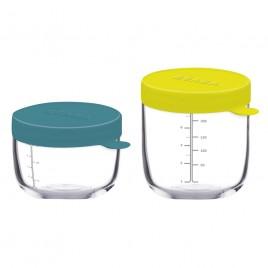 2 pots de conservation verre crème-dark bue