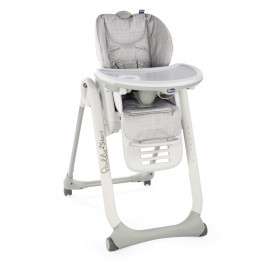 Chaise haute Polly 2 start - 4 roues Happy Silver