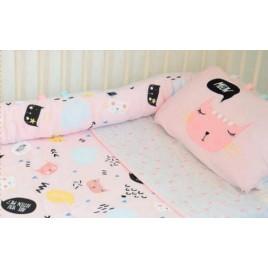 Parure de lit: taie + housse chats rose