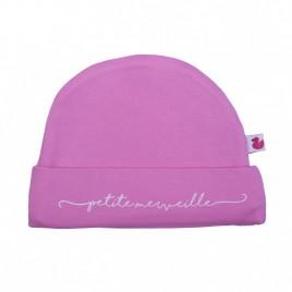 """Bonnet doublé pur coton """"Petite merveille"""" rose bonbon"""""""