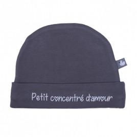 """Bonnet doublé pur coton """"petit concentré d'amour"""" gris"""""""