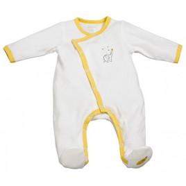 Pyjama velours blanc/jaune - 0 Mois - Babyfan